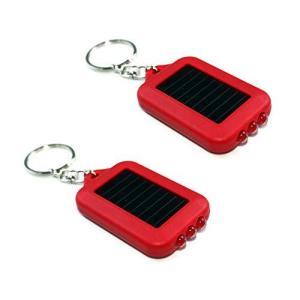 【2個入り】 キーチェーン ミニソーラー 3連LEDライト (赤色)|lavieshop