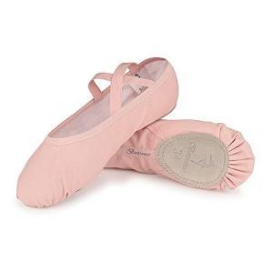 KUKOME バレエシューズ バレエ用品 バレエ靴 キャンバス製 トウシューズ 布製 スプリットソール エレクトーンにも 子供 大人 初心者 練習用|lavieshop