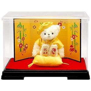 【プティルウ】米寿に贈る、黄ちゃんちゃんこを着たお祝いテディベア(金屏風 ケース) lavieshop