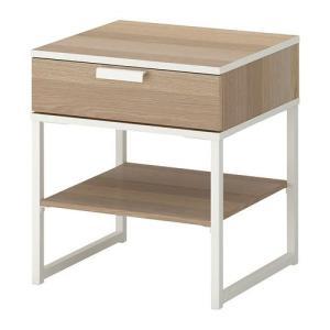 IKEAベッドサイドテーブルTRYSIL ホワイトステインオーク調, ホワイト送料¥750!代引き可