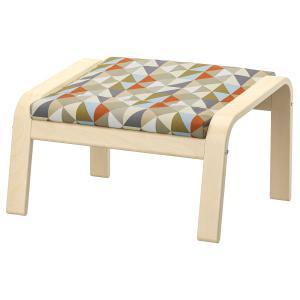 IKEAフットスツールPOANGバーチ材突き板, ヴィースランダ ブラック/ホワイト送料¥750!代引き可の写真