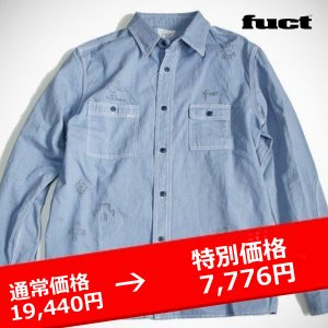 ★FUCT FALLEN ANGEL CHAMBRAY SHIRT BLUE ファクト シャンブレーシャツ|lay-z-boy