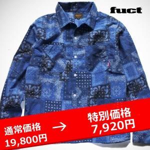 FUCT SSDD BANDANA FLANNEL SHIRT バンダナ シャツ青|lay-z-boy