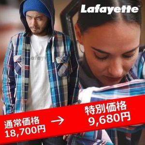 LAFAYETTE フード付きネルシャツ THERMAL HOODED NEL SHIRT ブラウン|lay-z-boy