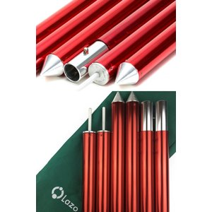 テントポール タープポール 赤ポール ウイングタープ用 長さ調整可能 アルミニウム合金 ワインレッド|lazo-office