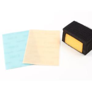 コバヤスリシート基本セット シートは110×75mm スポンジ1ヶ、#600が1枚、#1200が1枚[クラフト社]  レザークラフト工具 ヤスリ lc-palette