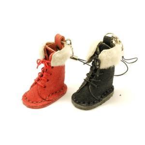 【完成品】ピッコロシリーズ ブーツストラップ(ボア付き) ローズ/黒 3.8×2.2cm 1ヶ【メール便対応】 [ぱれっと]  レザークラフト完成品 lc-palette