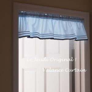 カフェカーテン 短いカーテン バランス ブルー ストライプ le-jeudi