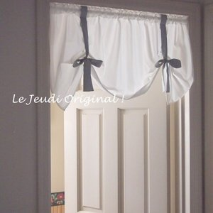 ロールアップ カーテン ミニ 短丈  リボン 窓の上飾り   綿100 日本製   |le-jeudi