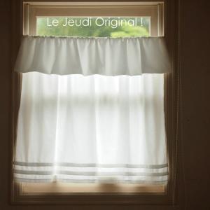 カフェカーテン 飾りつき 長め75cm ・ホワイト|le-jeudi