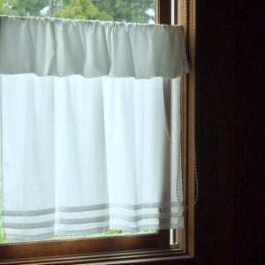 カフェカーテン 飾りつき 長め75cm ・ホワイト|le-jeudi|04