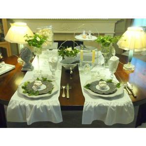 テーブルセンター/テーブルランナー  エレガントクロス・フリル/白  ル ジュディ オリジナル|le-jeudi