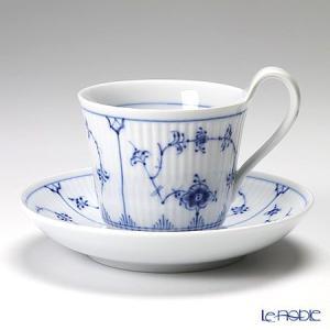 ロイヤルコペンハーゲン ブルー フルーテッド プレイン ティーカップ&ソーサー(ハイハンドル) 240cc 1101092/1017176 アフタヌーンティー|le-noble