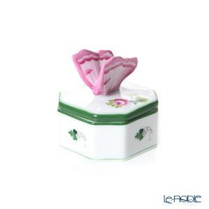 ヘレンド(Herend) ウィーンのバラ オクタゴナルボックス チョウ ピンク 06105-0-17|le-noble