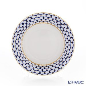 ロシア食器 インペリアル・ポーセリン コバルトネット スーププレート 22cm 皿|le-noble