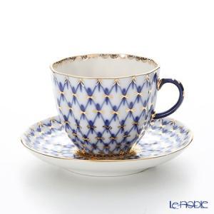 ロシア食器 インペリアル・ポーセリン コバルトネット コーヒーカップ&ソーサー 140cc|le-noble