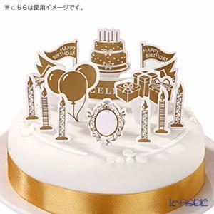 風船、キャンドル、Happy birthdayの文字が入った旗などのパーティらしいケーキデコレーショ...