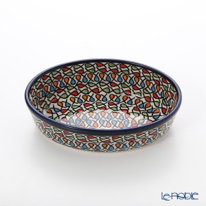 ポーリッシュポタリー(ポーランド陶器) ボレスワヴィエツ 楕円型ディッシュ 16.4cm/H4.5cm 1894A/DU221 皿|le-noble