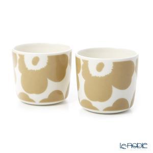 マリメッコ(marimekko) Unikko ウニッコ コーヒーカップ 2Pセット(ハンドル無) ホワイト×ベージュ 070397-180/20SS|le-noble