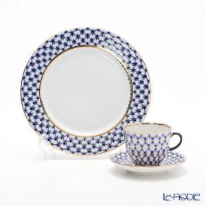 ロシア食器 インペリアル・ポーセリン コバルトネット トリオセット(コーヒー)|le-noble