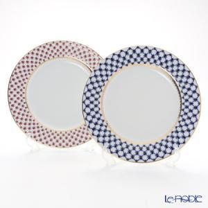 ロシア食器 インペリアル・ポーセリン コバルトネット&ブルース(ピンクネット) プレート 27cm ペア 皿|le-noble