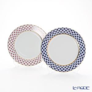 ロシア食器 インペリアル・ポーセリン コバルトネット&ブルース(ピンクネット) プレート 21.5cm ペア 皿|le-noble