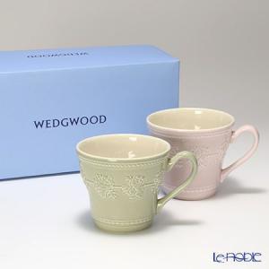 ウェッジウッド(Wedgwood) フェスティビティ マグ 300cc(セージグリーン&ピンク) ペア|le-noble