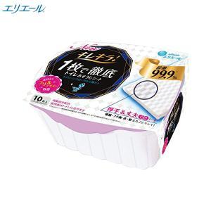 W589 大王製紙 エリエールキレキラ 1枚で徹底 トイレおそうじシート 本体 10枚 日本製 クリーンフローラルの香り 立体凹凸シート|lead