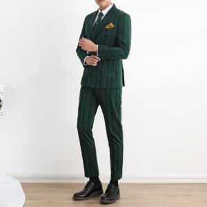 ストラップ 紳士服 大きいサイズ 白 通勤 緑 結婚式 タキシード 細身 メンズスーツ 黒 3色展開...