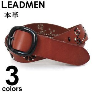 ベルト メンズ スタッズベルト フェイクレザー|leadmen