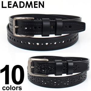 ベルト メンズ パンチング 模様 柄 カジュアル フリーサイズ 穴あき 男性用 フェイクレザー|leadmen