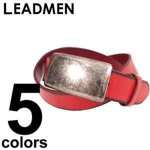 レザーベルト メンズ 本革 シンプルベルト プレートバックル|leadmen
