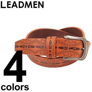 ベルト メンズ ウェスタンベルト 型押しベルト 柄|leadmen