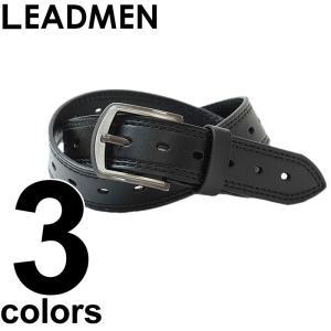 ベルト メンズ 本革 レザーベルト シンプル ベーシック 男性用 ステッチベルト フリーサイズ ユーズド加工|leadmen