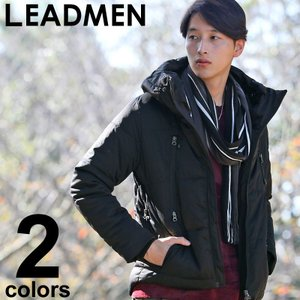 ダウンジャケット メンズ アウター ブルゾン 2WAY ボリュームネック ハイネック ダウンミックス 中綿ジャケット|leadmen