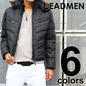 中綿ジャケット メンズ ブルゾン フェイクレザー リアルファー キルティング アウター 上着 メンズジャケット メンズファッション 通販|leadmen