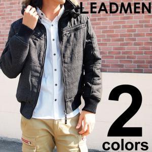 メンズ中綿ジャケット アウター ツイード ヘリンボン ウール リアルファー Vキルティング|leadmen