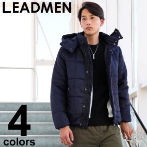 中綿ジャケット メンズ アウター ブルゾン キルティングジャケット 軽量 防寒 2WAY フード フェイクウール ジャンパー 撥水加工 無地 カモフラ|leadmen