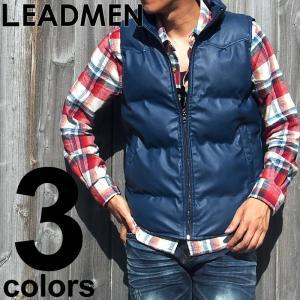 中綿ベスト メンズ ベスト カジュアル 中綿ジャケット ブルゾン フェイクレザー キレイめ 切替 スタンド襟 ジップアップ|leadmen