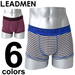 ボクサーパンツ メンズ ボクサーブリーフ 男性用 下着 メンズインナー ボーダー ベア天竺 ストレッチ|leadmen