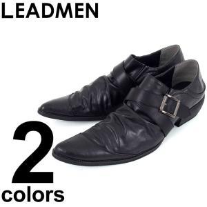 カジュアルシューズ メンズ 短靴 ドレスシューズ ローカット 靴 シューズ シークレットシューズ フェイクレザー ベルト ドレープ ロングノーズ leadmen