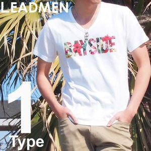 Tシャツ メンズ プリントTシャツ 半袖Tシャツ Vネック 花柄 フラワー ロゴ 文字|leadmen