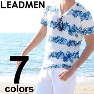 Tシャツ メンズ 半袖Tシャツ カットソー パイル生地 フラワー花柄 ボタニカル カモフラ 迷彩柄 ボーダーTシャツ 総柄 Vネック
