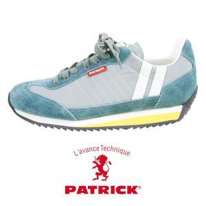 パトリック PATRICK MARATHON CANOE マラソン カヌー ライン入り スニーカー 靴 レディース メンズ ユニセックス ブルー グレー 青 灰色 日本製 オシャレ|leap-town
