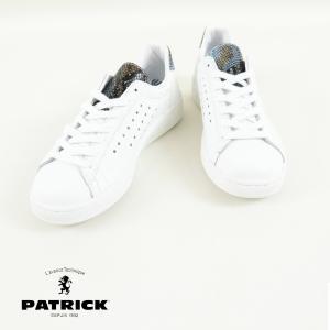 パトリック PATRICK  パトリック PATRICK QUEBEC+ ホワイト/ブルー 白 スニーカー パイソン 柄 クーポン利用不可|leap-town