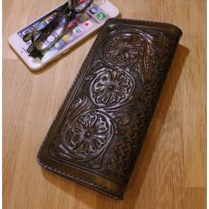 唐草カービング ビジネスウォレット rm269|leather-teddys