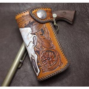 バイソンスカルの高貴な存在感 カービングウォレット rm278|leather-teddys
