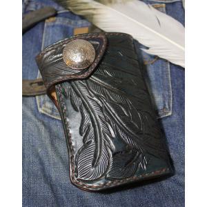 フェザーカービング ミドルウォレット rm283 leather-teddys