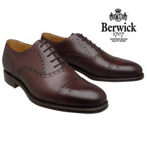 バーウィック 靴 Berwick ストレートチップ セミブローグ 6870 ダークブラウン レザーソ...