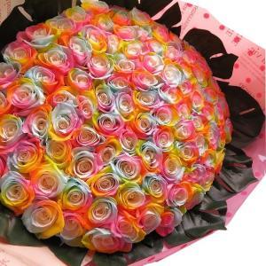 お祝 記念日 女性 彼女 サプライズ レインボーローズ バラ 100本 花束  枯れない花 プリザーブドフラワー 100本 花束|leaves78